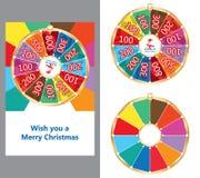 Vrolijke Kerstkaart van het rotatie de gelukkige wiel Stock Foto's