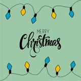 Vrolijke Kerstkaart Vector illustratie Stock Afbeeldingen