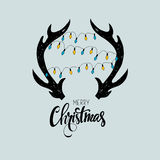 Vrolijke Kerstkaart Vector illustratie Stock Fotografie