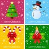 Vrolijke Kerstkaarten Stock Foto's