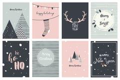 Vrolijke Kerstkaarten, illustraties en pictogrammen, het van letters voorzien ontwerpinzameling Royalty-vrije Stock Fotografie