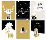 Vrolijke Kerstkaarten, illustraties en pictogrammen, het van letters voorzien ontwerpinzameling Stock Foto