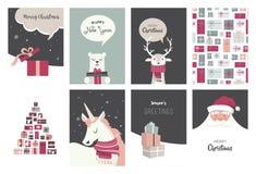 Vrolijke Kerstkaarten, illustraties en pictogrammen, het van letters voorzien ontwerpinzameling Royalty-vrije Stock Foto's