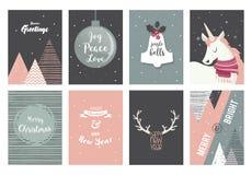 Vrolijke Kerstkaarten, illustraties en pictogrammen, het van letters voorzien ontwerpinzameling nr 2 Royalty-vrije Stock Afbeelding