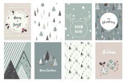 Vrolijke Kerstkaarten, illustraties en pictogrammen, het van letters voorzien ontwerpinzameling - nr 1 Stock Afbeeldingen