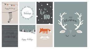Vrolijke Kerstkaarten, illustraties en pictogrammen, het van letters voorzien ontwerpinzameling nr 3 Stock Fotografie