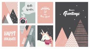 Vrolijke Kerstkaarten, illustraties en pictogrammen, het van letters voorzien ontwerpinzameling - nr 6 Royalty-vrije Stock Foto