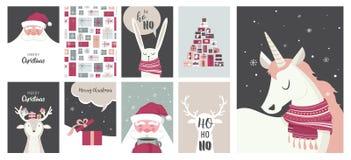 Vrolijke Kerstkaarten, illustraties en pictogrammen, het van letters voorzien ontwerpinzameling - nr 4 Stock Foto's