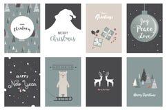 Vrolijke Kerstkaarten, illustraties en pictogrammen, het van letters voorzien ontwerpinzameling nr 5 Royalty-vrije Stock Foto