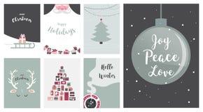 Vrolijke Kerstkaarten, illustraties en pictogrammen, het van letters voorzien ontwerpinzameling - nr 7 Stock Afbeeldingen