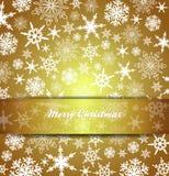 Vrolijke Kerstkaartsneeuwvlokken - Gouden Achtergrond Royalty-vrije Stock Foto