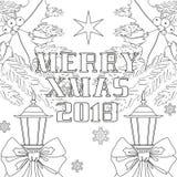 Vrolijke Kerstmis 2018 affiche met lintboog, straatlantaarn Stock Afbeeldingen