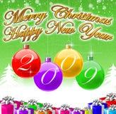 Vrolijke Kerstmis & de Gelukkige Achtergrond van het Nieuwjaar 2009 Royalty-vrije Stock Afbeelding