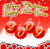 Vrolijke Kerstmis & de Gelukkige Achtergrond van het Nieuwjaar 2009 Stock Foto