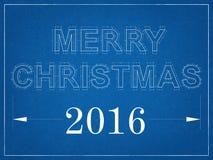 Vrolijke Kerstmis 2016 - Blauwdruk Royalty-vrije Stock Afbeeldingen