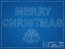 Vrolijke Kerstmis 2016 - Blauwdruk Stock Afbeeldingen