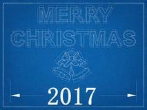 Vrolijke Kerstmis 2017 - Blauwdruk Royalty-vrije Stock Afbeeldingen