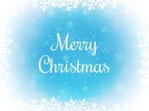 Vrolijke Kerstmis bokeh achtergrond Sneeuw en sneeuwvlokgrens De winterachtergrond Vector illustratie royalty-vrije stock afbeeldingen