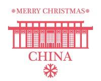 Vrolijke Kerstmis China stock illustratie