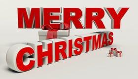 Vrolijke Kerstmis 3d tekst, gift hoge resolutie Royalty-vrije Stock Foto