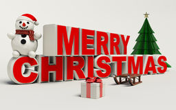 Vrolijke Kerstmis 3d tekst, sneeuwman, slee, en gift hoge resolutie Royalty-vrije Stock Fotografie