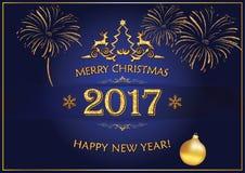 Vrolijke Kerstmis, de Gelukkige kaart van de Nieuwjaar 2017 groet Royalty-vrije Stock Foto
