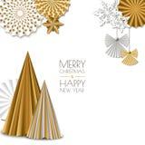 Vrolijke Kerstmis, de Gelukkige kaart van de Nieuwjaargroet Vector gouden document decoratiesneeuwvlokken, Kerstmisboom, engel Stock Foto
