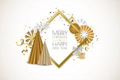 Vrolijke Kerstmis, de Gelukkige kaart van de Nieuwjaargroet Vectorkader met gouden document sterren, Kerstmisboom, engelen, sneeu royalty-vrije illustratie