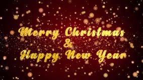 Vrolijke Kerstmis & de Gelukkige van de de kaarttekst van de Nieuwjaargroet glanzende deeltjes voor viering, festival stock illustratie
