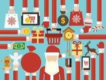 Vrolijke Kerstmis, de Gelukkige verkoop online vlakke Santa Claus van het Nieuwjaarconceptontwerp stock illustratie