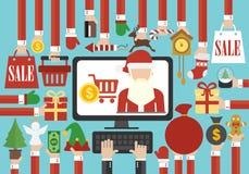 Vrolijke Kerstmis, de Gelukkige verkoop online vlakke Santa Claus van het Nieuwjaarconceptontwerp vector illustratie