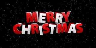 Vrolijke Kerstmis De illustratie van de vakantie Het van letters voorzien Samenstelling met Sneeuw Royalty-vrije Stock Afbeelding