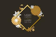 Vrolijke Kerstmis, de kaart van de Nieuwjaargroet Vectorvakantiekader op zwarte achtergrond met gouden document sterren, sneeuwvl vector illustratie