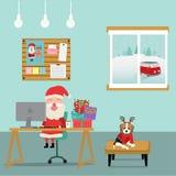 Vrolijke Kerstmis de Kerstman die in de ruimte met hondvector werken illustratie eps10 stock illustratie