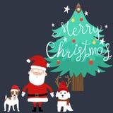 Vrolijke Kerstmis de Kerstman en honden royalty-vrije illustratie