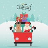 Vrolijke Kerstmis de Kerstman en rendier met giftdozen op de bestelwagenvector I stock illustratie