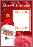 Vrolijke Kerstmis. De Kerstman. Rode achtergrond Royalty-vrije Stock Foto