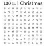 Vrolijke Kerstmis, de nieuwe pictogrammen van de jaar vlakke lijn De giften, sneeuwvlokken, stelt, brief aan de Kerstman, decorat vector illustratie