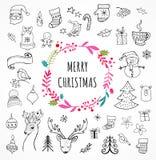 Vrolijke Kerstmis - de symbolen van Krabbelkerstmis, hand getrokken illustraties royalty-vrije illustratie