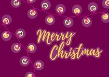 Vrolijke Kerstmis De wintervakantie Prentbriefkaar met de inschrijving en Kerstmis lichte slinger, verlichting stock illustratie