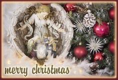 vrolijke Kerstmis die buitensporige kaart begroeten Stock Afbeelding