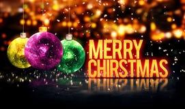 Vrolijke Kerstmis die Mooie 3D van Snuisterijen Gele Bokeh hangen Royalty-vrije Stock Afbeelding