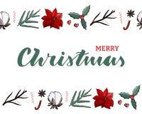 Vrolijke Kerstmis donkergroene van letters voorziende kaart met eindeloze grens met decoratiepoinsettia, katoen, omela, spar, kan royalty-vrije illustratie