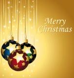 Vrolijke Kerstmis. Elegante kleurrijke en gouden greetin Stock Afbeelding
