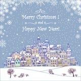 Vrolijke Kerstmis en de Gelukkige achtergrond van de Nieuwjaarvakantie met inscr Stock Foto