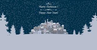 Vrolijke Kerstmis en de Gelukkige achtergrond van de Nieuwjaarvakantie met inscr Stock Afbeelding