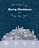 Vrolijke Kerstmis en de Gelukkige achtergrond van de Nieuwjaarvakantie met inscr Royalty-vrije Stock Afbeeldingen