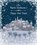 Vrolijke Kerstmis en de Gelukkige achtergrond van de Nieuwjaarvakantie met inscr Stock Fotografie