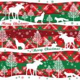 Vrolijke Kerstmis en de Gelukkige achtergrond van het Nieuwjaar Naadloos patroon Royalty-vrije Stock Afbeeldingen