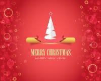 Vrolijke Kerstmis en de Gelukkige Bellen van het Nieuwjaar Stock Illustratie
